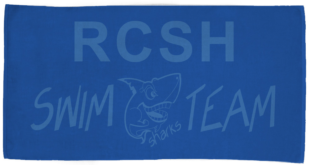 RCSH Swim Team Towel - Custom printed blue towel with light blue text