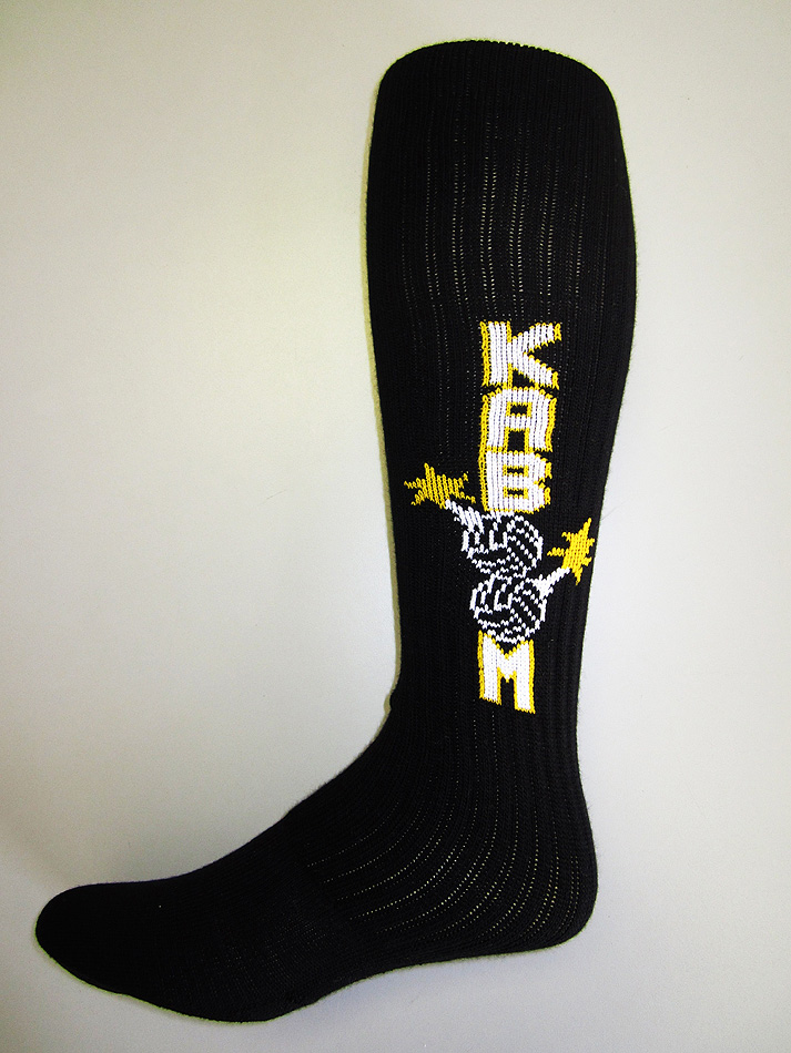 Black custom printed sock with Kaboom for Volleyball team