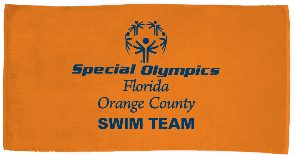 Customized Special Olympics of Orange County Towel - Blue text on orange towel