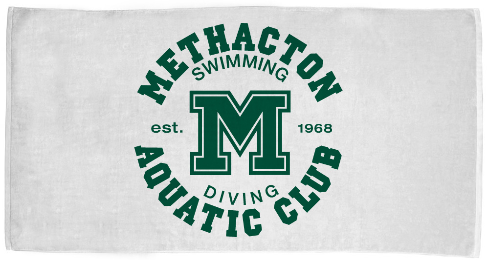 Methacton Aquatic Club - Custom printed white towel example