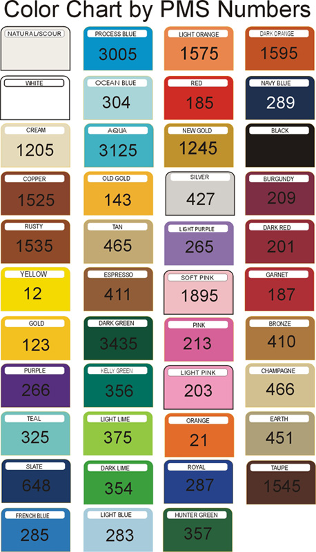 Towel Color Chart by PMS Number