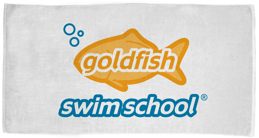 Goldfish Swim school custom team towel